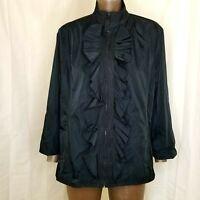 Zenergy by Chico's Womens Black Ruffled Zip-Up Coat Jacket Chicos Size 3 Shacket