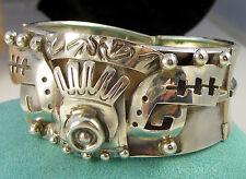 1 Sterling Silver Wide 48 Gram Bracelet Estate Vintage Bold Mexico P H R Eagle