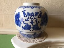 Antique Canton Ginger Jar Blue & White Blossom Circa 1880