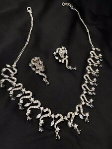 Sterling Silver Cubic Zirconia Necklace And Earrings With Onyx Zircones