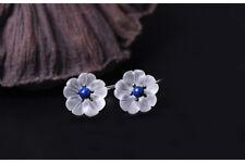 925 Sterling Silver Natural Blue Lapis Lazuli & Crystal Flower Hook Earrings