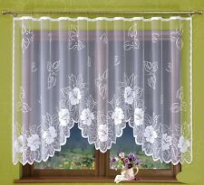 White Jacquard Net Curtain Leaves and Flowers Ready-made 300x160cm
