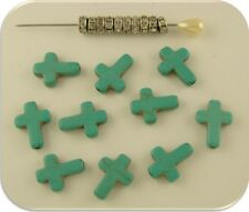 Beads Faux Turquoise Cross Crosses & Clear Crystal 5mm Rondelles ~ 20 pc Set