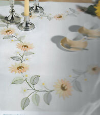 Rico - SUNFLOWER Tablecloth - Shadow Work, Fabric stamped for embroidery, Kit