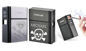 Zigarettenetui mit Gravur nach Wunsch und Sturmfeuerzeug + USB Kabel Box, Etui