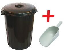 Large 65L Litre BLACK Plastic Bin Dustbin Animal Horse Feed Seed Storage + SCOOP