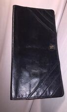 pre-loved authentic CHANEL black leather FLAP WALLET checkbook cover Retail $975