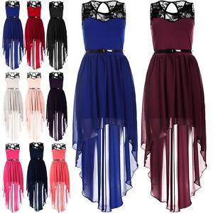 Womens Ladies Dip Hem High Low Assymetric Lace Chiffon Belted Mixi Midi Dress