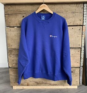 Vintage 90's Champion Small Spellout Logo Embroidered Sweatshirt - Size XL