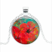 Summer Hibiscus Tibet silver Glass dome Necklace chain Pendant Wholesale