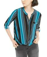 INC Women's Long Sleeve Split-Neck Stripes Top (Blue, XL)