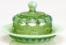 Butterdish - Eyewinker - Green Opalescent Glass - Mosser USA