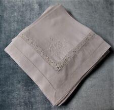 Antique 12 Linen Napkins C I Monograms Crocheted Insets Embroidered Shamrocks