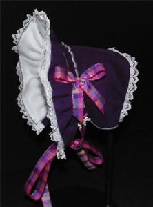 Dark Purple Corduroy Fleece Lined Cold Weather Bonnet