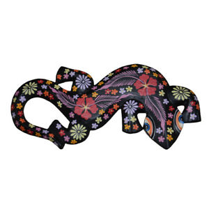 Fair Trade Wooden Gecko Wall Plaque Hand Carved & Painted Black