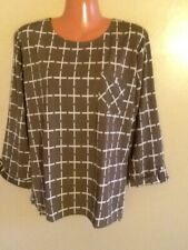 Women's Plus Size Relaxed 3/4 Sleeve Plaid Print  Blouse Top  1X 2X 3X