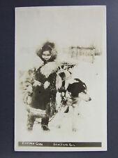 Native Little Eskimo Girl Fur Coat & Dog Lew Smith Real Photo Postcard RPPC