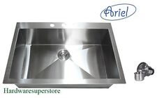 "36"" Stainless Steel Single Bowl Topmount Drop In Kitchen Sink Zero Radius Ariel"
