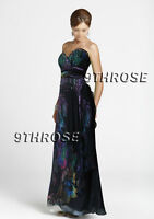 SWEET HEART NECK FLORAL PRINTS BLACK BEADED FORMAL/PROM/EVENING GOWN AU 12/US 10