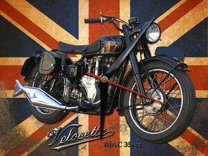 CLASSIC BRITISH VELOCETTE MAC 350 MOTORCYCLE  METAL CLOCK