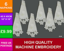 6 Embroidered Cutwork Ivory Napkins with Buckle Dining Kitchen Applique EL80