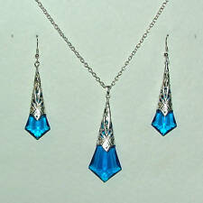 BLUE FACETED ACRYLIC SILVER PLATED DECO FILIGREE PENDANT SET