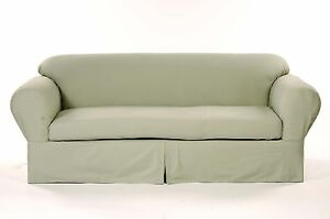 All Cotton Brushed Twill 2-piece Round arm Sofa Slipcover Sofa Solid Sage