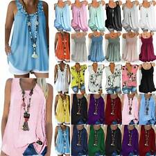 Women's Summer Boho Loose Vest Tank Tops Sleeveless Casual T-Shirt Tunic Blouse