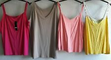 BUNDLE X 4 SIZE 24 COTTON SLEEVELESS SUMMER TOPS BNWT/VGC PINK YELLOW FREE P&P