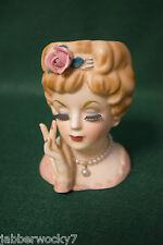 1961 Inarco E-193/S Lady Head Vase Pearls False Eyelashes - Japan Signed