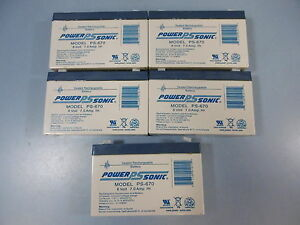 Lot Of 5 Power Sonic 6V 7A Sealed Rechargable Battery PS-670