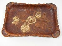 Vintage 1944 Faux Wood Tray Multi Products Inc Flowers Resin Server GUC