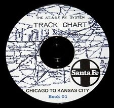 Atchison Topeka& Santa Fe 51 Chicago to Kansas City Track Chart PDF Pages DVD #1