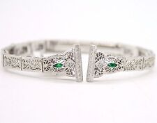 """14 KARAT WHITE GOLD ANTIQUE WATCH BAND BRACELET WITH EMERALDS AND DIAMONDS 5.5"""""""
