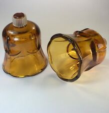 Pair of Vintage Amber Paneled Glass Candle Votive Holders