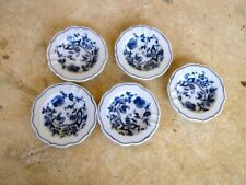 Blue Danube Onion Design Set of 5 Small Ashtrays Butter Pats Blue/White Floral