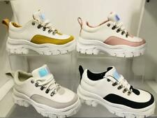 New Womens Ladies High Platform Retro Trainers Sneakers With Coloured Rim 1