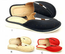 Natural Leather Women Ladies Indoor Home Shoes Slippers Mule For Wide Feet 5 6