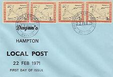 Huelga de correo Dayan's Hampton 1971 1p 2p 2p 5p puesto local de valor primer día cubierta