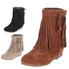 kala Frauen Schuhe Winter Ethno Stiefeletten Fringe Slip Stiefel Cow Boy Fashion