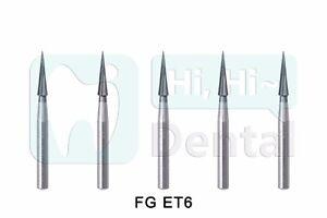 Dental Tungsten Carbide Burs Trimming & Finishing Safe End Taper FG ET6 10Pcs