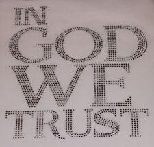 In God We Trust Rhinestone Iron on Hotfix