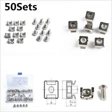 50Sets M6 Square Hole Hardware Cage Nuts Screws Washers for Server Rack Cabinet