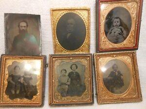 6 Good Antique Tintype Photos Sixth Plate