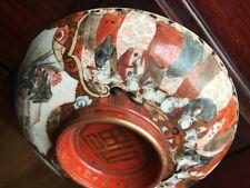 Antique Japanese Kutani Ceramic Ash Tray With Amazing Hand-Painting