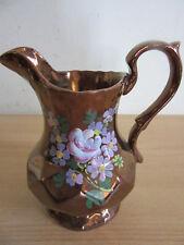 Antique Copper Lustre floral painted english Creamer pitcher
