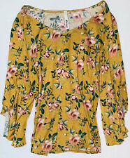 Kirious Boho Long Bell Sleeve Blouse Floral Mustard Yellow Stretchy Top Size M
