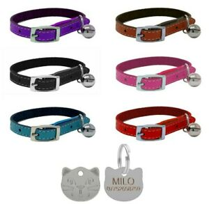 Leather Cat Collar, Safety Elastic Bell Range of Colours & Engraved Cat Face Tag