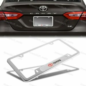 For 1PCS TOYOTA Silver Stainless Steel Metal License Plate Frame New