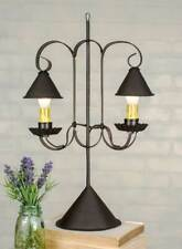 Double shaded Lamp w/ Hanging Shades in Brown Tin